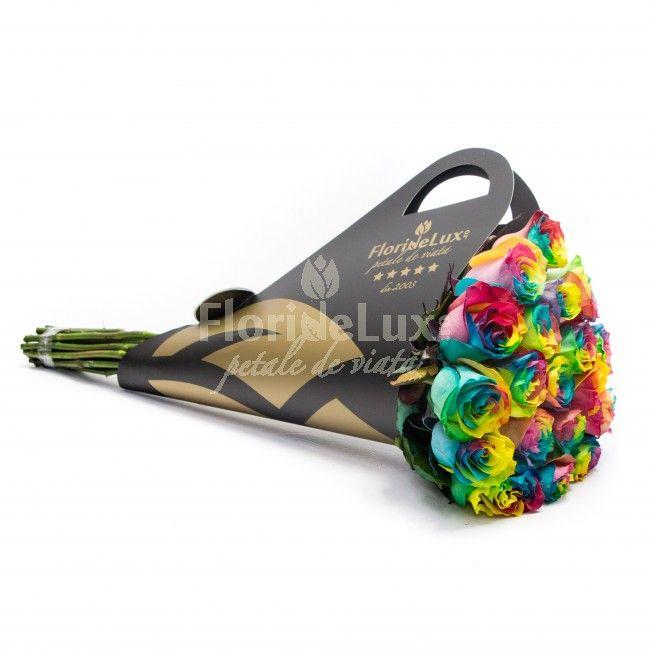 O surpriza speciala pentru Maria ta draga! Trimite-i raze de soare si bucati de curcubeu cu acest buchet de lux, creat din 19 trandafiri Rainbow in suport Black&Gold -  e WOW!