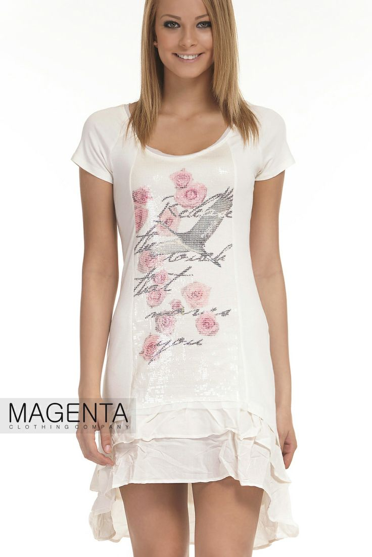 Dress with printed tinsel part, and flounces at the bottom #magentafashion