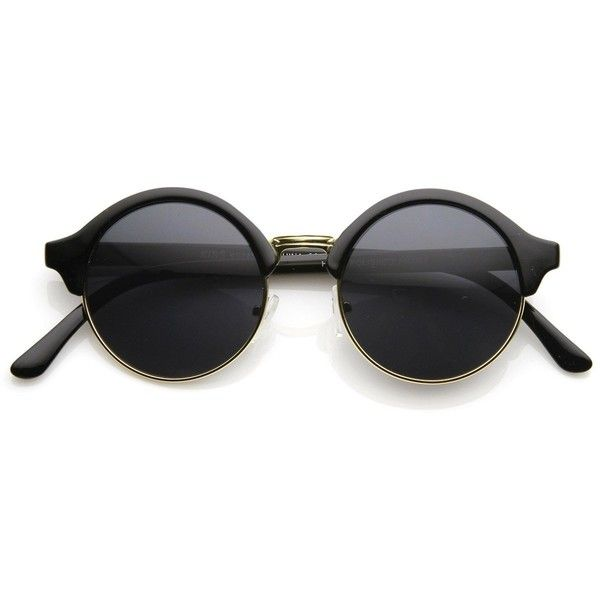 Vintage Inspired Classic Half Frame Semi-Rimless Round Circle... (89 NOK) ❤ liked on Polyvore featuring accessories, eyewear, sunglasses, glasses, gold round sunglasses, rounded sunglasses, semi rimless sunglasses, round circle sunglasses and black circle sunglasses