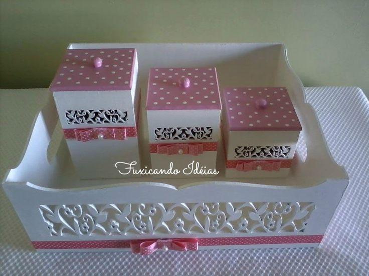 Kit higiene - poá rosa