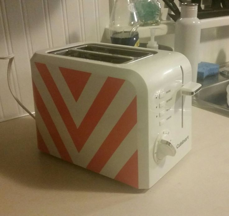 Coral Pink Spray Paint Part - 36: Chevron Design On My Toaster In Coral Spray Paint.