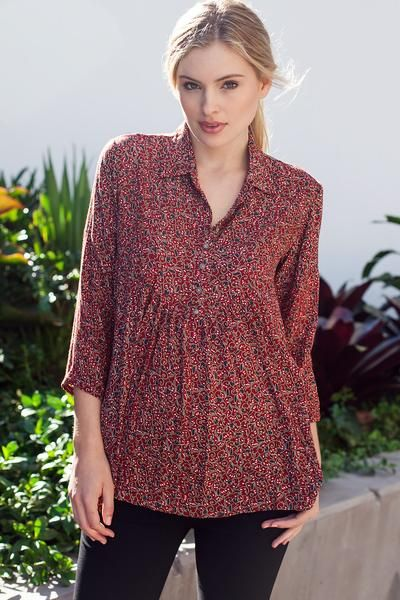 Sparrow Shirt in Ruby Paisley