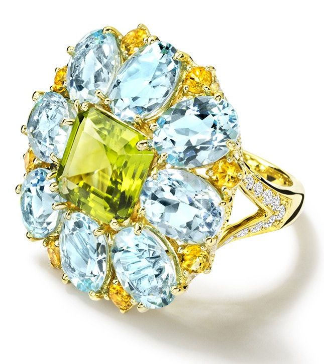 Cassandra Goad yellow gold ring with peridot, topaz, citrines and diamonds // Золотое кольцо Cassandra Goad с перидотом, топазами, цитринами и бриллиантами