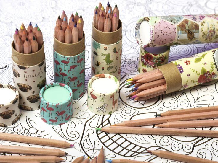 Pastelky pro vaši tvorbu, nebo k vykreslování #omalovánek. V ozdobném kartonovém obalu s designy jako #Flamingo #Dino #Pug #BotanicalGarden #pastelky