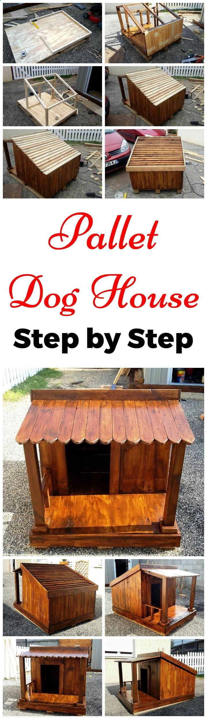 Pallet Dog House – Step by Step Plan - Your Free source for Pallet Projects, Pallet ideas and Pallet Furniture #pallets (Diy Clothes Step By Step)