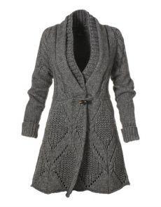 Теплый кардиган спицами с ромбами. Стильное пальто спицами схема | Я Хозяйка