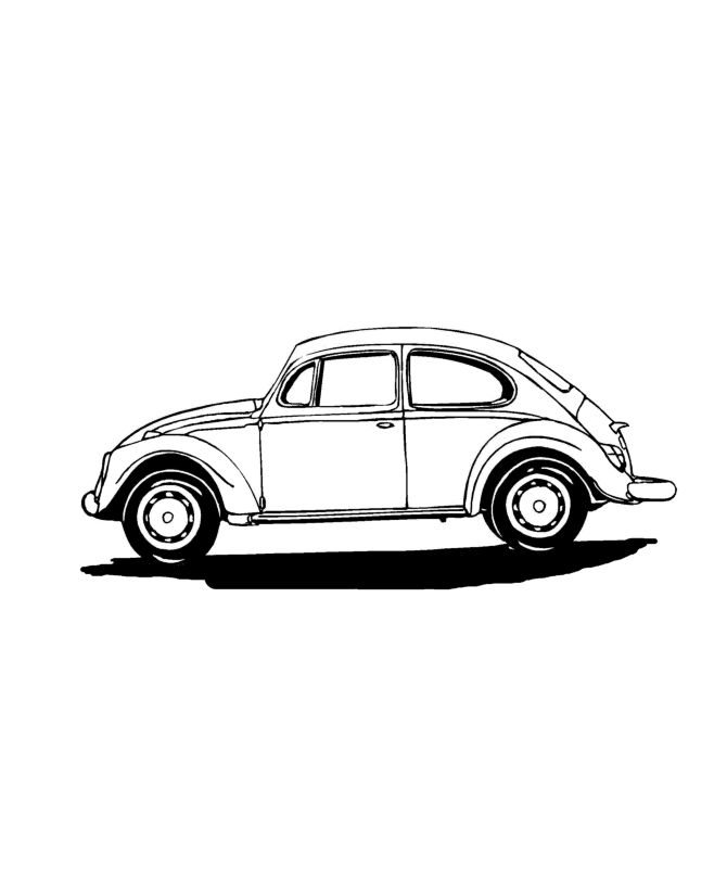 Car Coloring Pages Side View : Vw beetle side view volkswagen pinterest