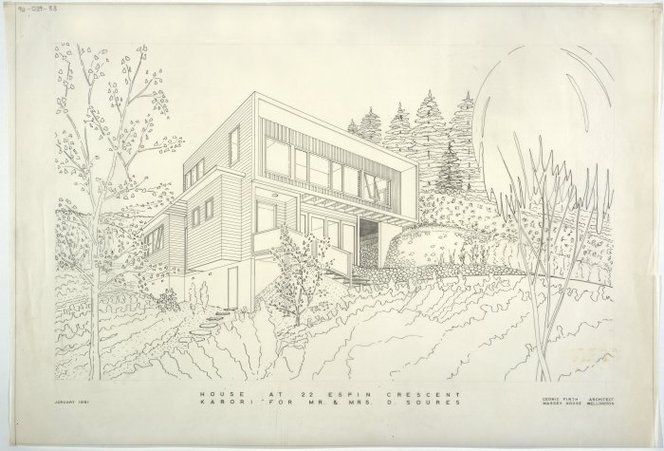 House at 22 Espin Crescent Karori for Mr & Mrs D Soures. January 1961. Cedric Firth, Architect