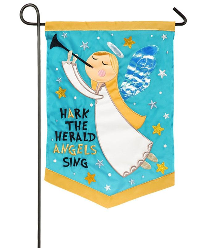 Weather and fade resistant. 12.5in x 18in double-sided applique outdoor flag with Christmas design. Fits garden size flag pole, not included. Packaged in poly bag with header card.