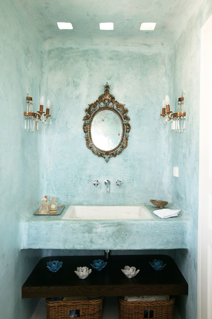 Help! I'm drooling and can't stop!  This sink / space evokes my inner *excitement squeeee* <3  Can't you just feel the cool, tranquil refreshness?  (Private House in Tinos | Yatzer)