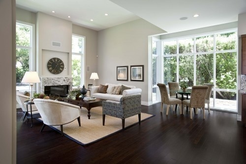 Effort in your home can go a considerable way.: Decor, Interior, Living Rooms, Idea, Dark Wood Floors, Family Rooms, Design