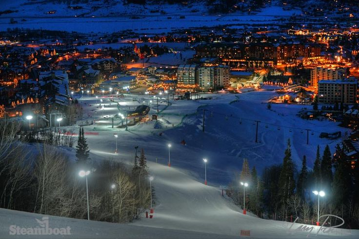 Night skiing at Steamboat Resort in Steamboat Springs, Colorado.