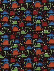 Mini Dinosaurs Black Fabric for Children