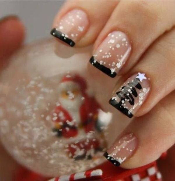 Black and white French tips. Play around with colors this Christmas and don't forget to add accents to your nails such as star shaped sequins to make it look even more interesting.