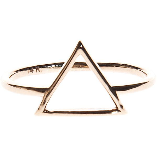 ART YOUTH SOCIETY Triangle Gold // 14 carat gold ring found on Polyvore featuring jewelry, rings, accessories, gold circle ring, yellow gold jewelry, gold jewellery, circle jewelry and triangle jewelry