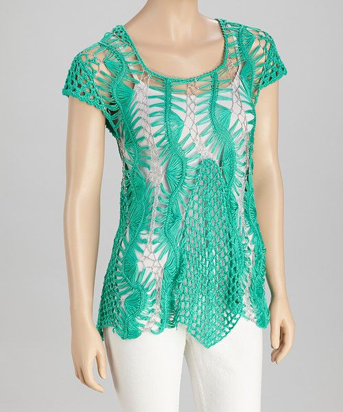 Take a look at this SR Fashions Mint & Silver Crocheted Cap-Sleeve Tunic on zulily today!