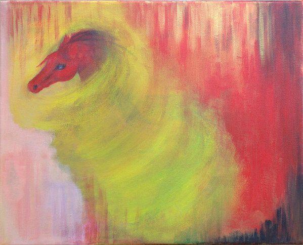 Horse in a tornado, 50x40 cm, Acrylic on canvas, Thelli 2016