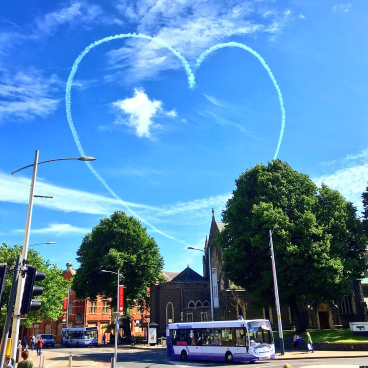 The Red Arrows Display Team in Swansea - The Red Arrows dedicated this heart to the Wales football team at Euro 2016!