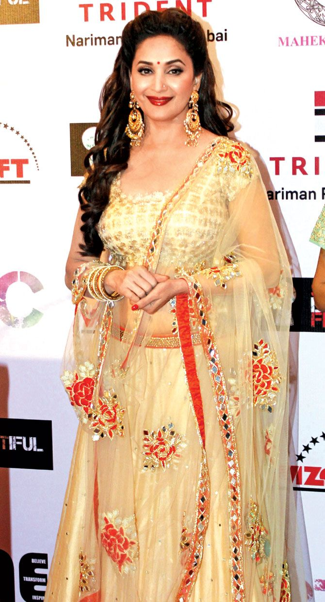 Madhuri Dixit at an event to create social awareness. #Bollywood #Fashion #Style #Beauty #Desi