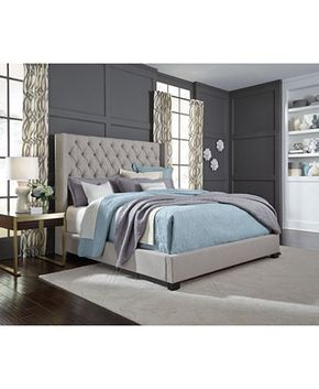 Best Monroe Upholstered Queen Bed Created For Macy S Grey 640 x 480