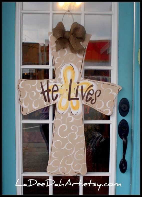 Large Wooden Cross Door Hanger Decor Art Hand Painted $45