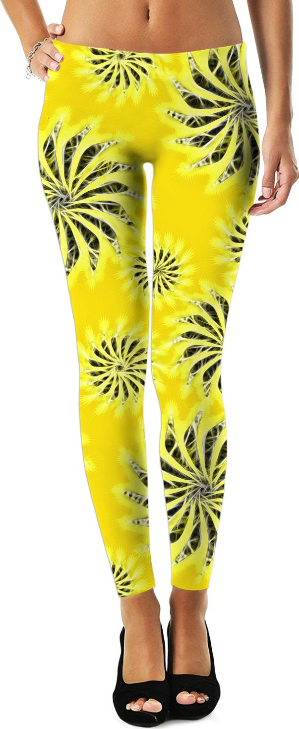 Silver spinning stars on yellow, abstract energetic pattern. Leggings. ( abstract geometric stars neon light blue cool case trending design in move spinning vec