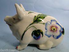 BEAUTIFUL OLD WEMYSS PIG - UNUSUAL BLUE FLOWER - SIGNED B.ADAMS EXON - VERY RARE