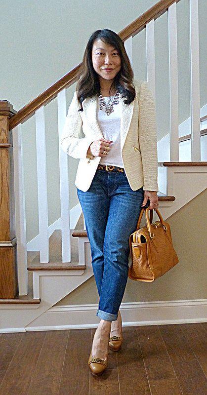 #zara blazer #jcrew necklace #loftgirl jeans #pourlavictoire bag #michaelkors heels
