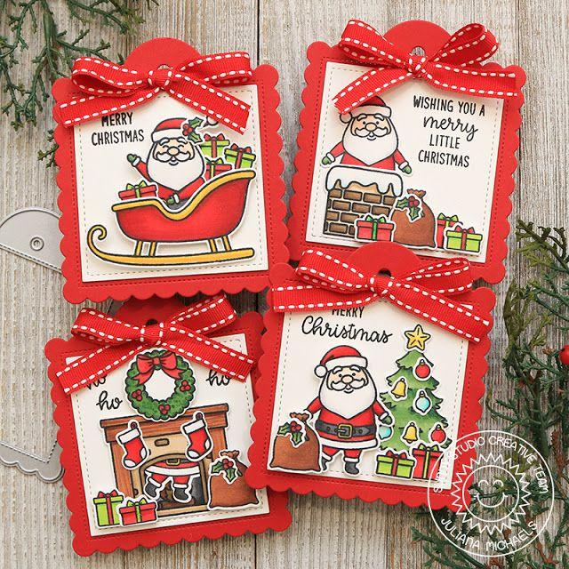Sunny Studio Stamps Scalloped Tag Dies Season S Greetings Santa Claus Lane Christmas Gift Tags By Julia Christmas Gift Tags Holiday Projects Holiday Gift Tags