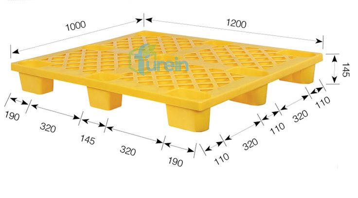 This plastic pallet for simple use as an one-way shipping pallet because of its low-cost, when empty, the pallets can be nest each other.