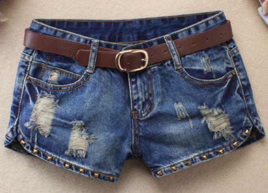 Clube Femme Sexy Do Punk Rebite Buraco Jeans Rasgados Curtas Mini Shorts Jeans 2017 Calções de Verão Mulheres Shorts Jeans