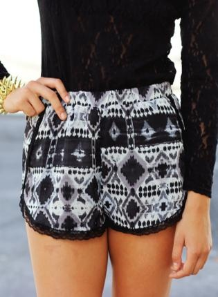 www.ustrendy.com, Black Tribal Shorts,  Bottoms, black tribal shorts lace sheer, Chic