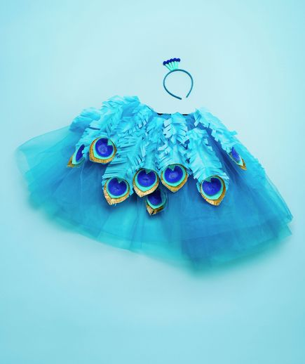 Peacock costume from Real Simple - the headband with pipe cleaners and pompoms is clever
