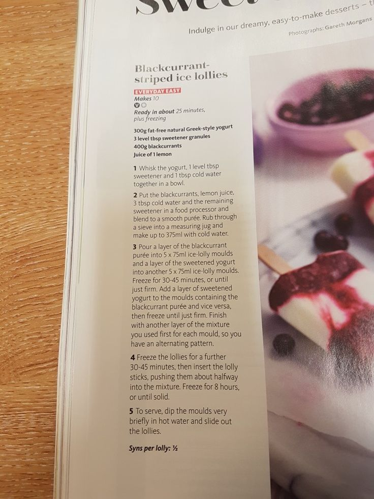 Slimming world blackcurrant striped ice lollies
