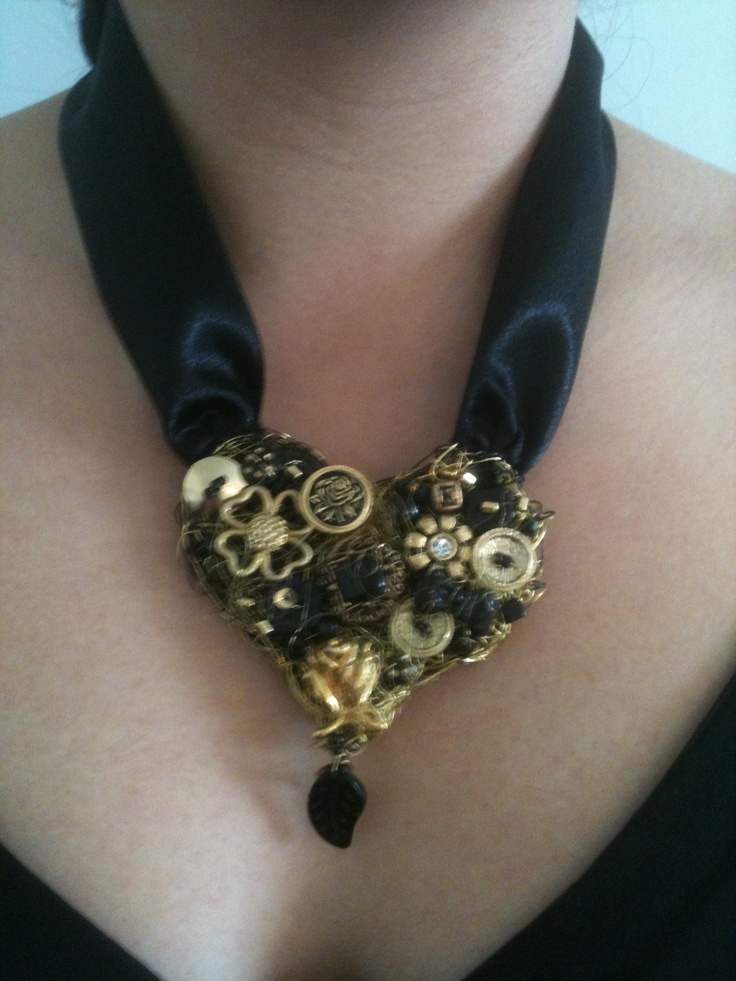Gold collage necklace