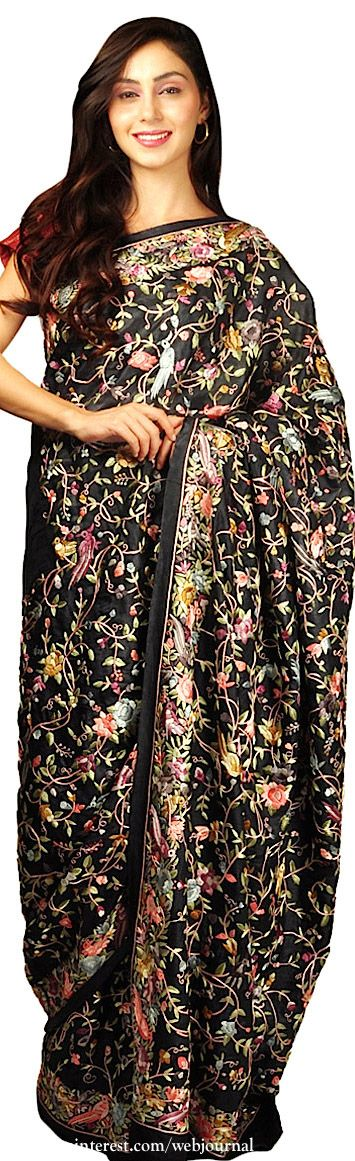 Saree with Parsee Gara embroidery