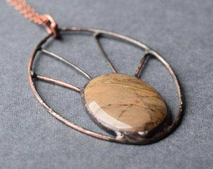 grote verklaring ketting bruin edelsteen hanger, boho sieraden, natuurlijke minerale, koperen ketting, de gift van de verjaardag voor vrouwen