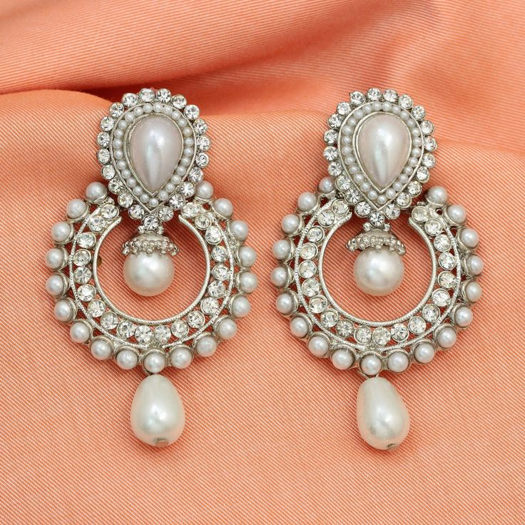 Drop Dangler Silver Plated AD CZ Traditional Pearl Jhumka Jhumki Indian Earrings #DesaiJewellers #DropDangle