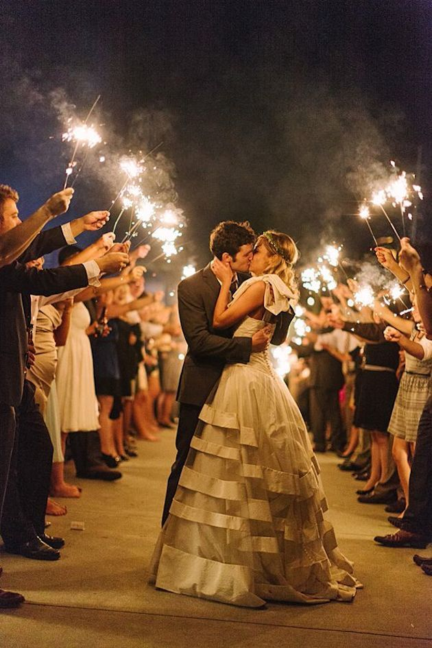 Sparklers rather than confetti or rice for your walk back up the aisle. Photo by Haley Sheffield from Southern Weddings (via Bridal Musings).