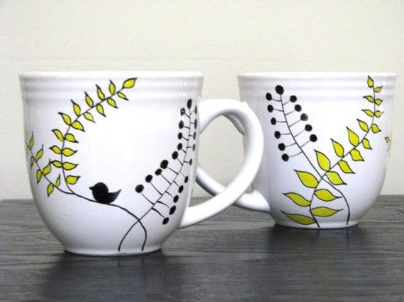 Hand Painted Mugs- Modern Leaf Design