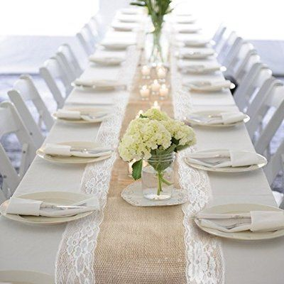 ourwarm burlap lace hessian table runner jute country outdoor wedding party dcor - Wedding Table Runners