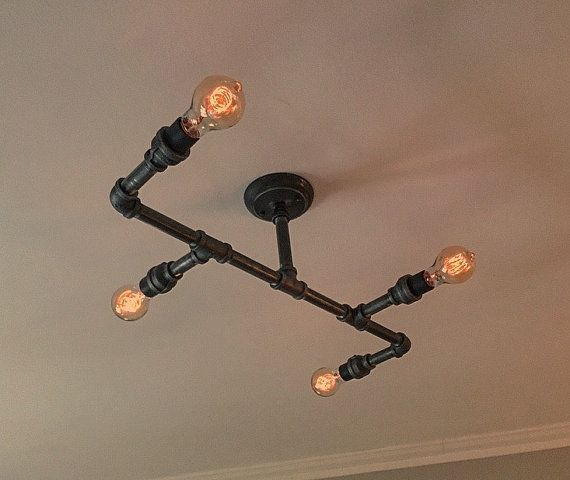 Industrial Iron Pipe Light Fixture by NMbois on Etsy
