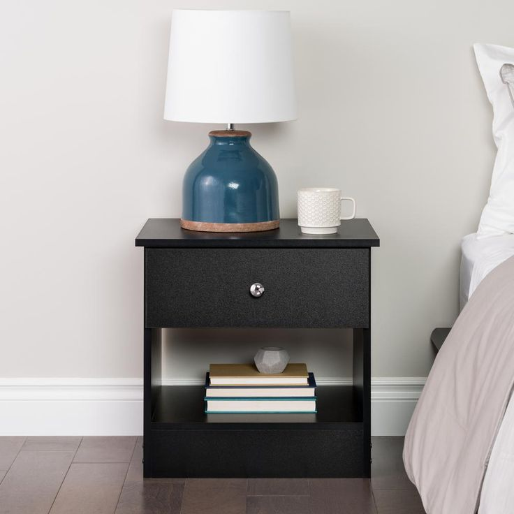 edenvale 1drawer black nightstand