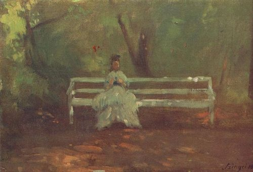 On a Garden Bench  Sketch, 1873 by Szinyei Merse, Pál  1845 - 1920 was a Hungarian painter and politician