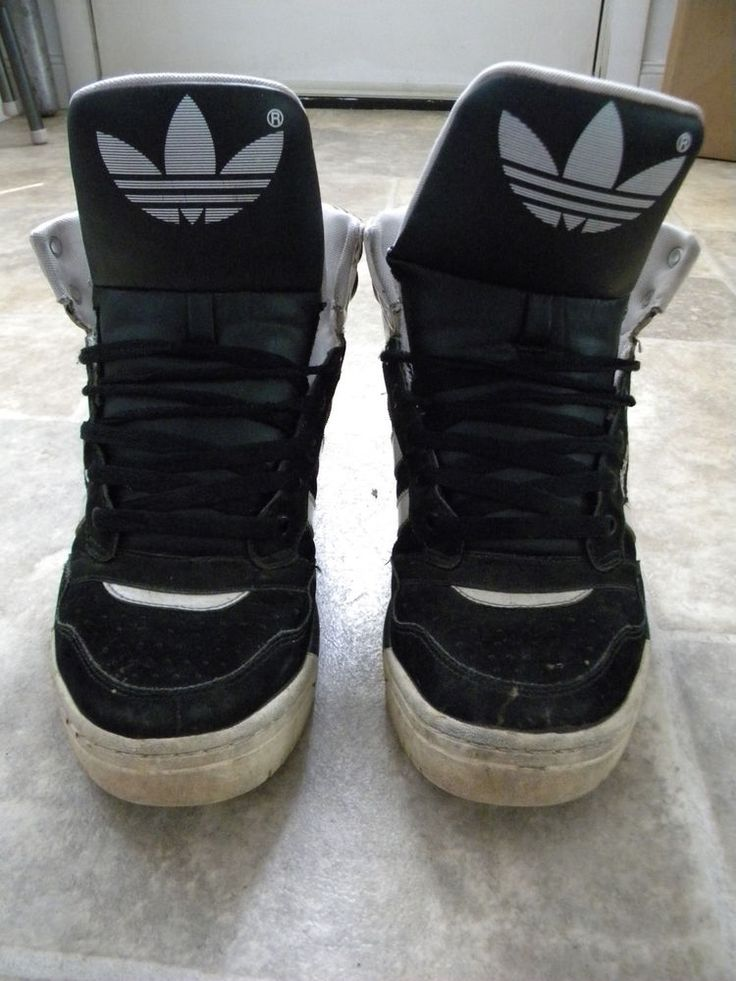 Adidas High Top Thrash Metal Sneakers Black And White