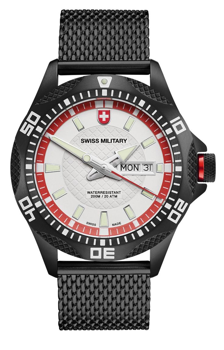 M's SWISS MILITARY day/date watch TANK NERO, Ronda cal. 517 Swiss Made quartz mvt., black/red dial, black PVD stainless steel case/mesh bracelet, screw-down crown, sapphire crystal, 20atm / 200m water resistance, black PVD plated stainless steel bracelet, width 22mm, with double pusher butterfly buckle, case: 44 mm, weight: 148gr. rrp = USD 722.