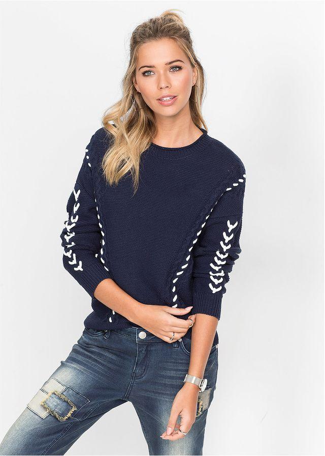 Sweter dzianinowy ze sznurowaną wstawką • 99.99 zł • bonprix