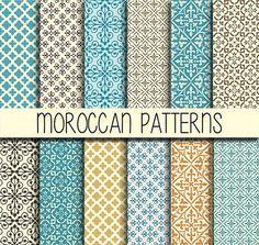 Azulejos marroquíes - árabe patrones - Descargar Instant - Set de 12 - 12 x 12 pulgadas - Digital papel paquete de papel - Scrapbook, diseño Web, tarjeta que hace