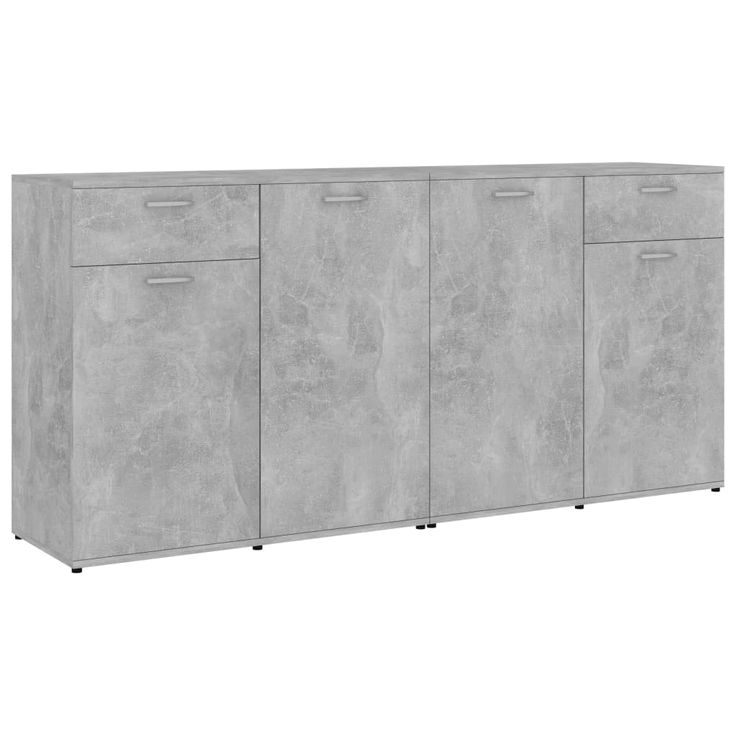 This sideboard, featuring a minimalist design, makes a practical as well a beautiful decorative addition to your home. This sideboard with 4 doors and 2 drawers provides ample storage space for books, multimedia appliances and other items. The sturdy tabletop is ideal for displaying decorative objects, photo frames, or potted plants. The premium board material makes this sideboard long-lasting. The drawer cabinet is easy to clean with a damp cloth. This sideboard is also easy to assemble… Cabinet Furniture, Home Furniture, Concrete Wood, Love Your Home, Wood Dust, Sideboard Buffet, Chipboard, Chest Of Drawers, Decorative Objects