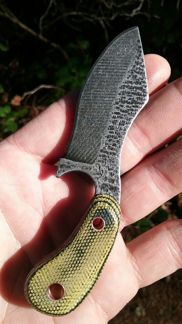 #NightTurtleKnives New Neck Knife. O-1 Tool Steel. Copper Pins And Copper Liners on this one! Acid Etched and Stone Washed. Micarta Handles. NightTurtleKnives.etsy.com